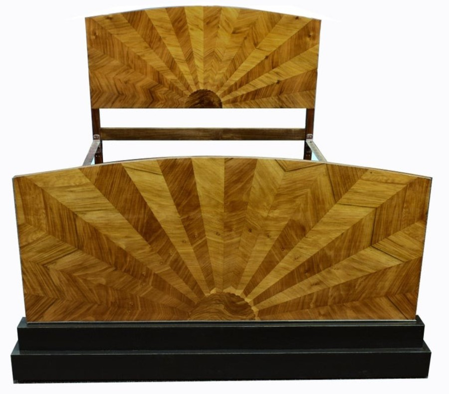 Rare 1930's Art Deco Walnut Double Bed