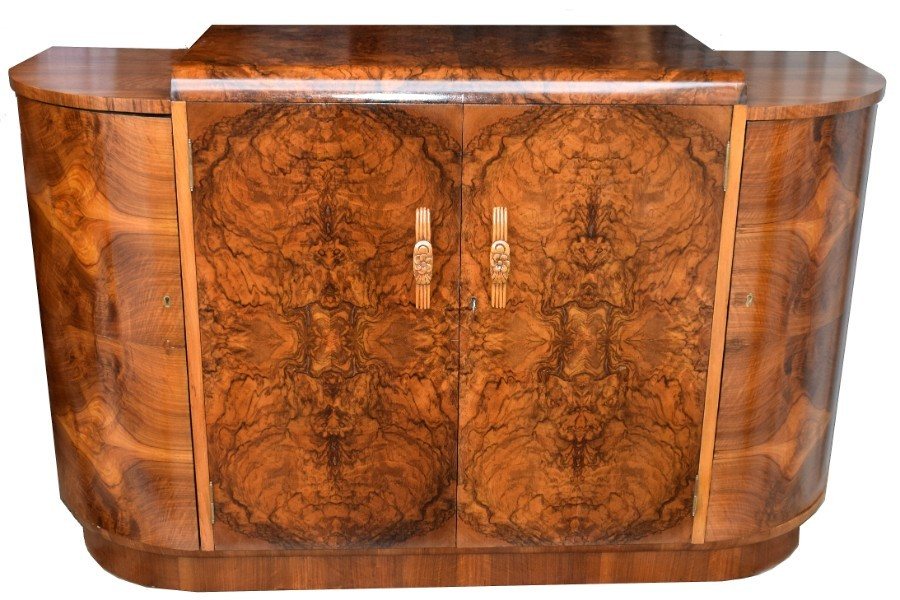1930's Art Deco English Walnut Sideboard