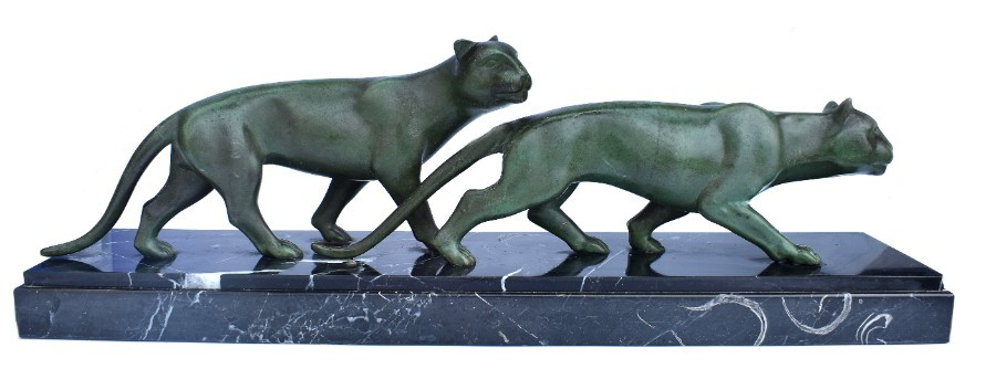 Art Deco Panther Figures On A Solid Marble Base, 1930's