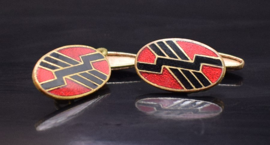 Art Deco Gents English Enamel Cufflinks, c1930