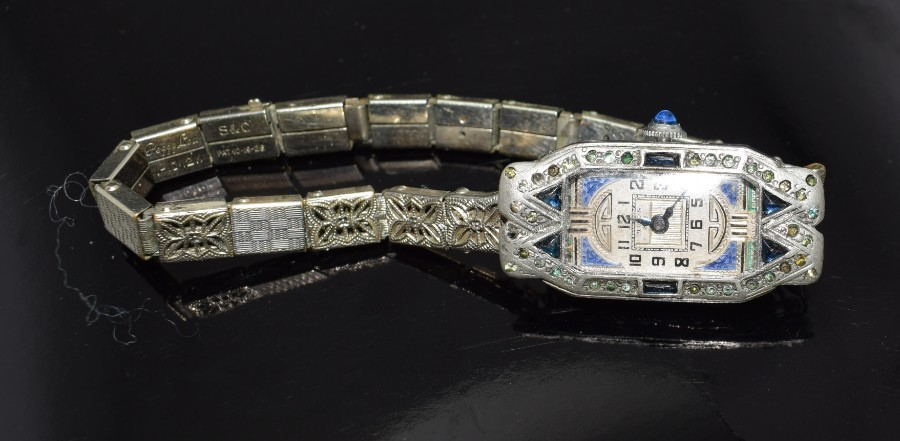 Antique 1930's Art Deco Ladies Sapphire Marcasite Enamel Watch With A Filigree Band
