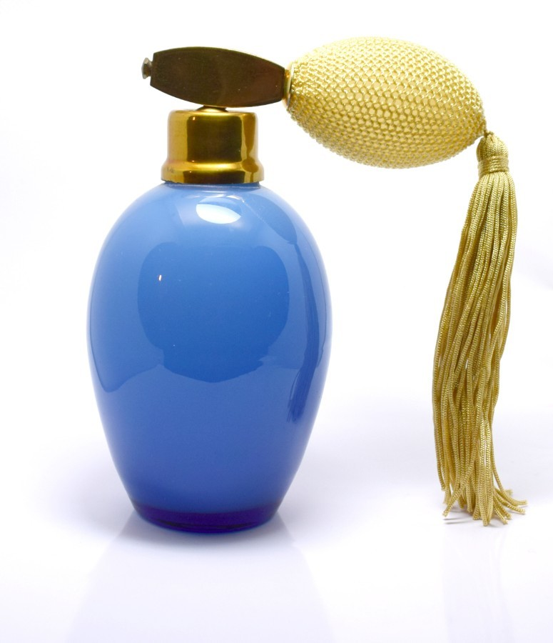 Art Deco Large Blue Glass Perfume Atomiser