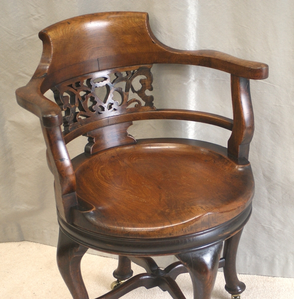 Antique Antique Victorian Oak Swivel Desk Chair
