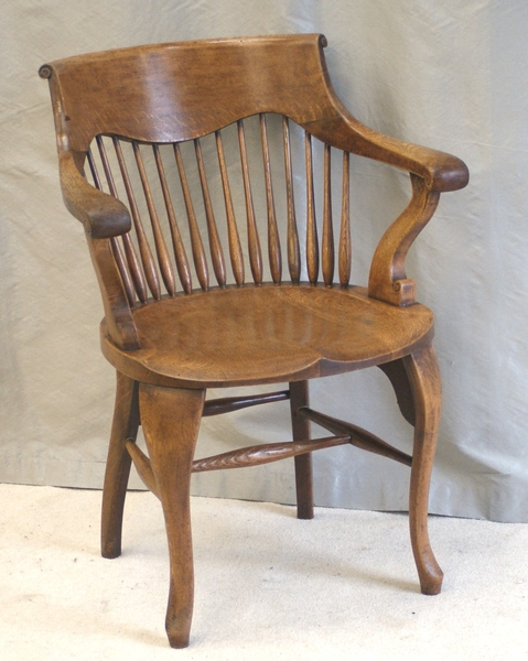 Antique Oak Desk Chair by Shoolbred