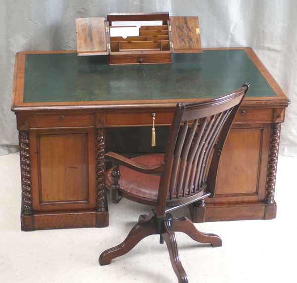 Antique Fine Victorian Walnut Pedestal Desk