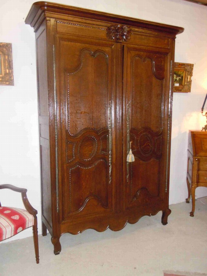 Antique French wedding armoire/wardrobe from Normandy