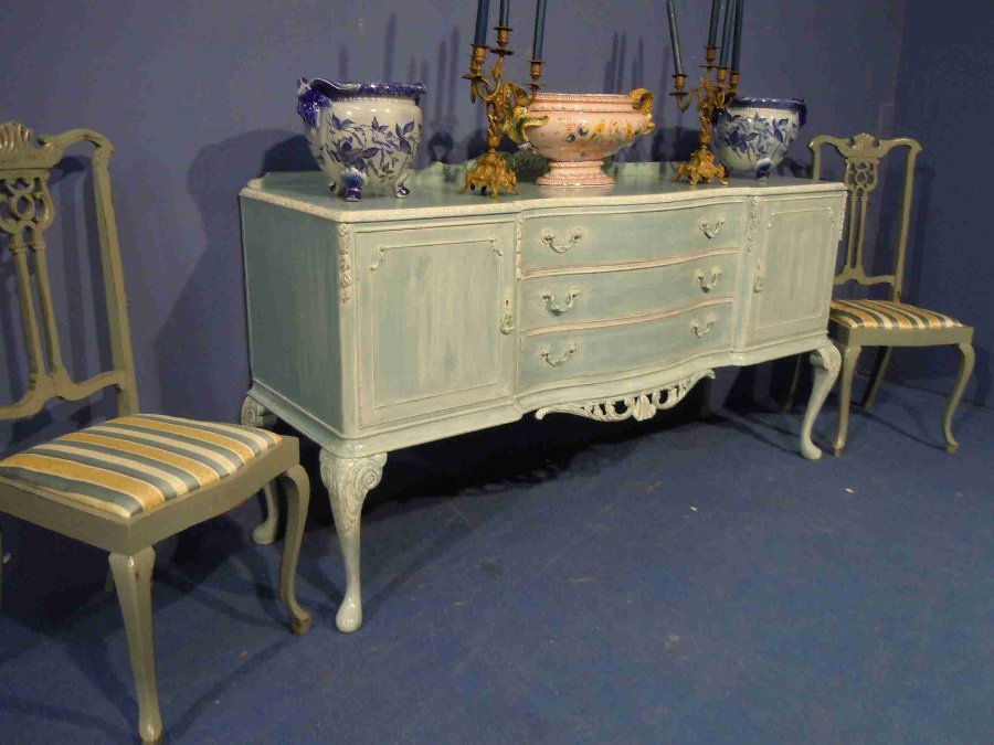 Antique Queen Anne painted Sideboard