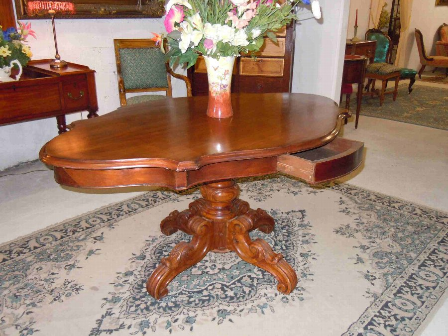 Antique french napoleon III violin shaped table