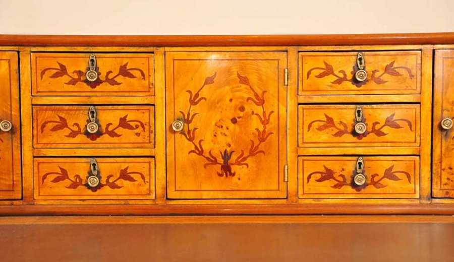 Antique Carlton House Desk In Satinwood Inlay Desks English