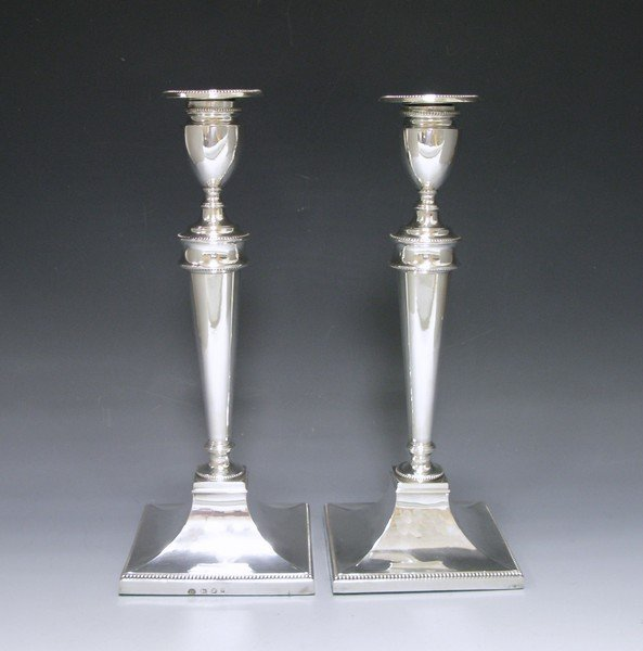 Antique Pair of George III Antique Silver Candlestick (1784 Maker London with Sheffield Hallmark) THOMAS DANIELL R.A. (1749-1840)