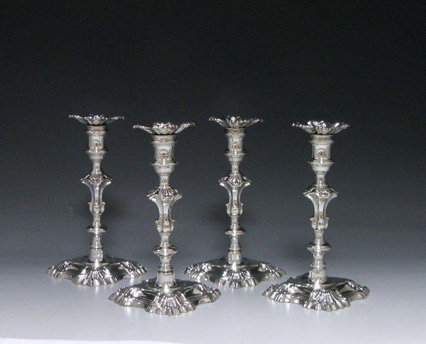 Set of Four George II Cast Silver Candlestick (1753 London) GEORGE BOOTHBY (worked from 1720)