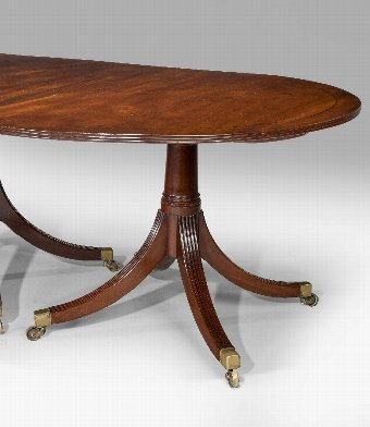 Antique Fine George III Period Mahogany Four Pillar Dining Table