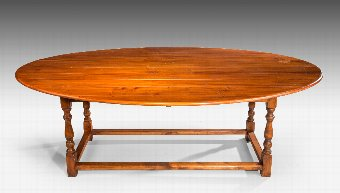 Antique 20th Century Oval Pine Dining Table