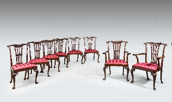 Antique Set of Eight Chippendale Design Dining Chairs