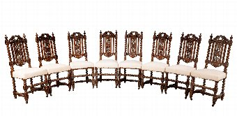 Antique Set of Eight 17th Century Charles II Style Single Chairs