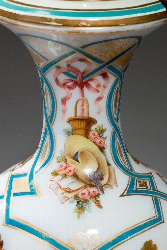 Antique Fine French Opaline Vase Lamp