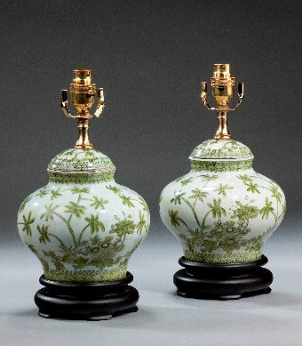 Antique Pair of Clobbered Porcelain Vase Lamps