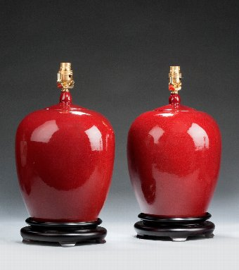 Antique Pair of 'Sang de Boeuf' Ginger Jar Lamps