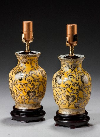 Antique Pair of Yellow Ground Ovoid Lamps.
