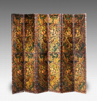 Antique 19th Century Six Fold Leather Screen.