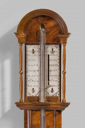 Antique Early 18th Century Walnut Barometer