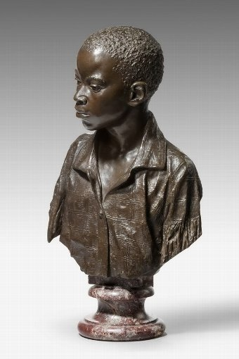 Antique 19th Century Modelled Bust of a Negro