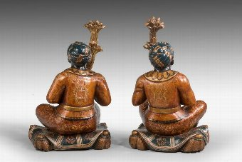 Antique Pair of 19th Century Italian Seated Blackamoors
