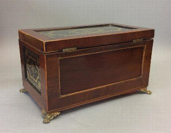 Antique Early 19th Century Eglomise and Mahogany Caddy