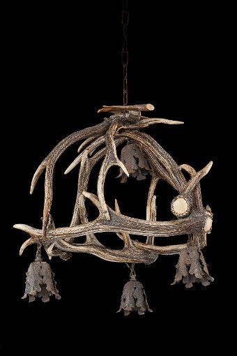 Antique Early 20th Century Stag's Horn, Four Light Chandelier.