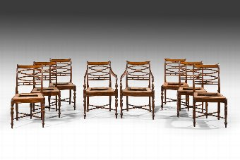 Antique Set of Eight (Six plus Two) George III Period Mahogany Chairs