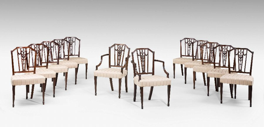 Antique Set of Twelve 18th Century Dining Chairs