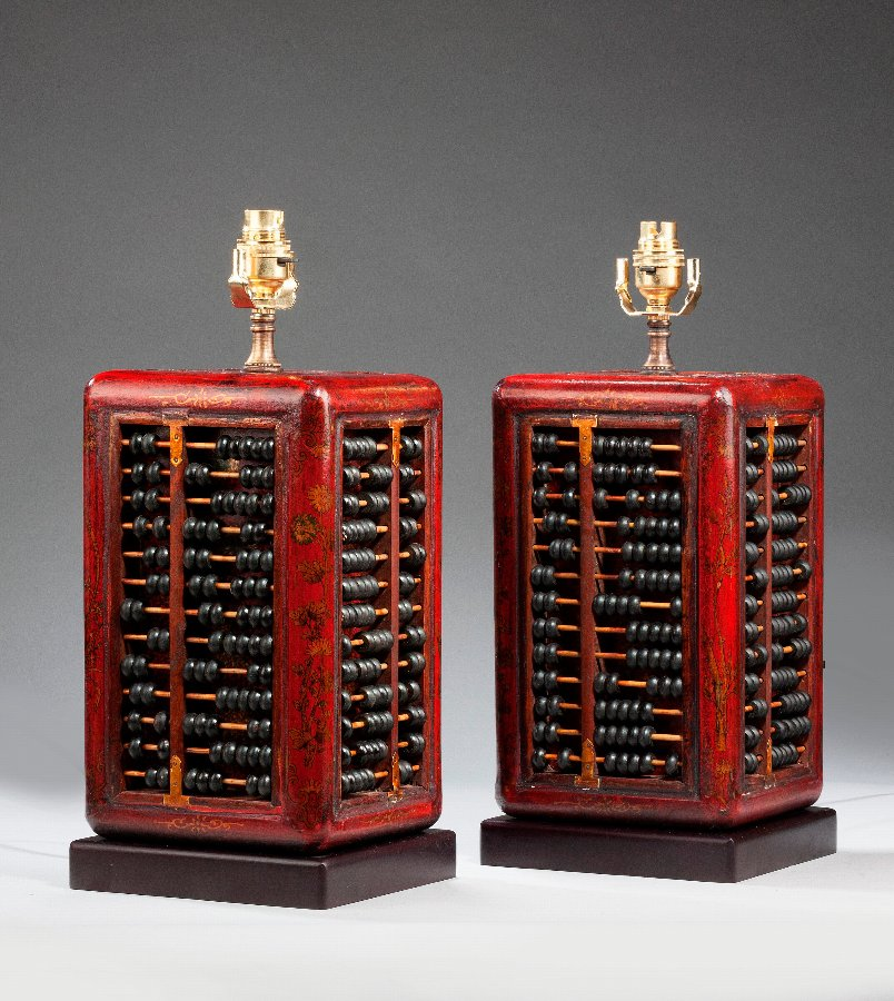 Antique Pair of Abacus Lamps