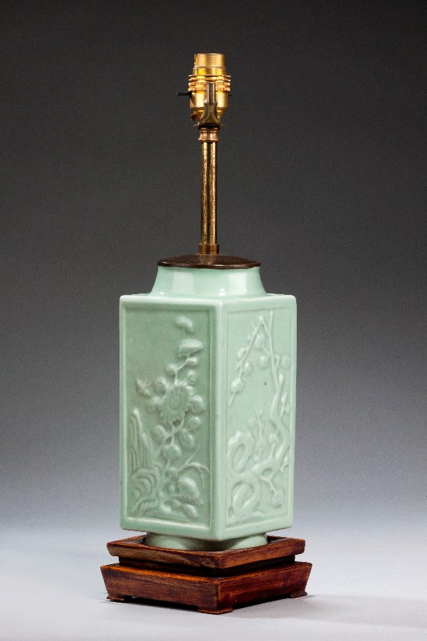 Antique Single Celadon Green Lamp