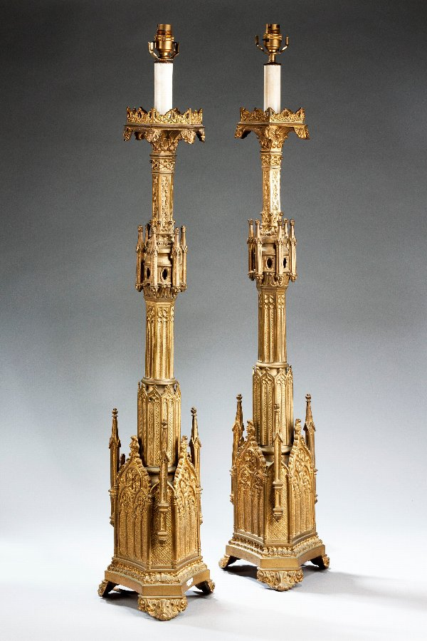 Antique Pair of  19th Century Gothic Gilt Bronze Lamps.