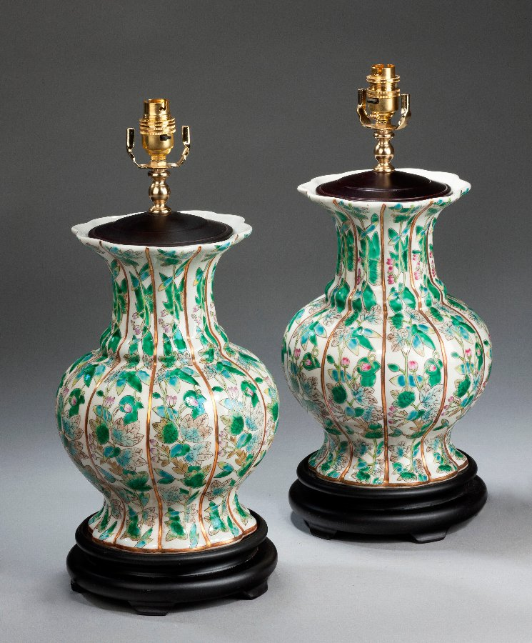 Antique Pair of Lobed Lamps of Canton Design.