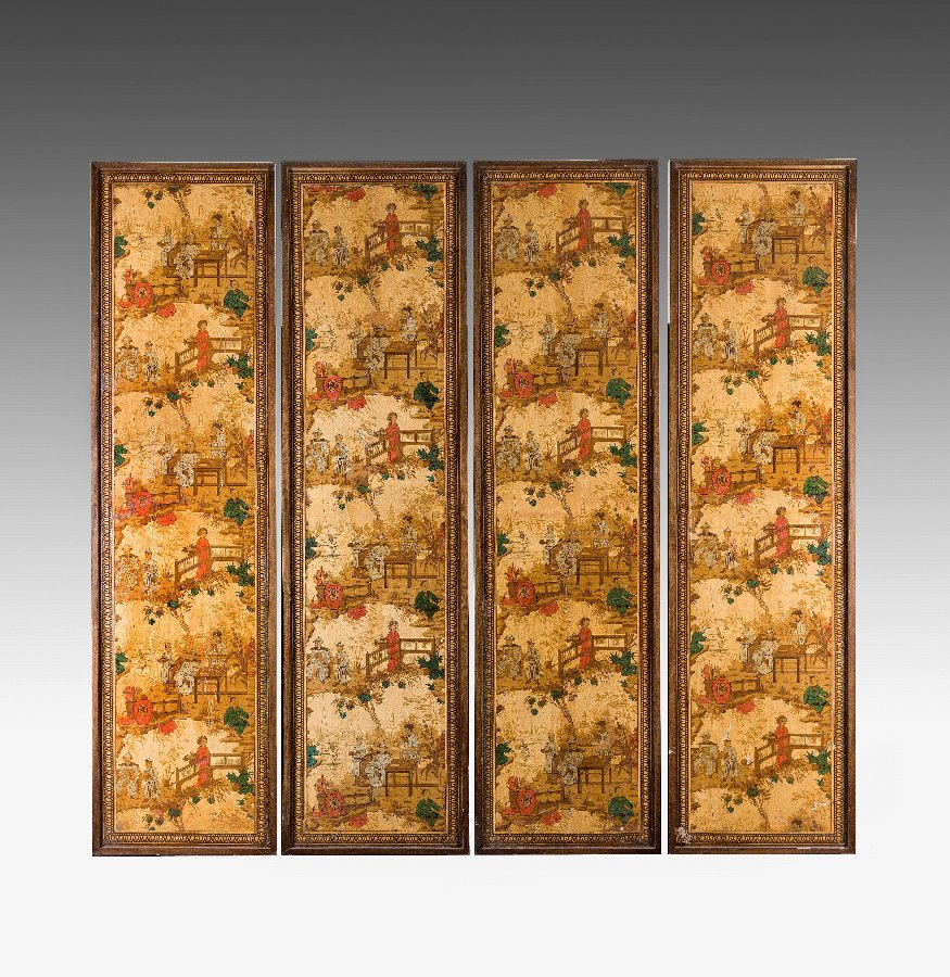 Antique Four Printed and Painted Screen Panels