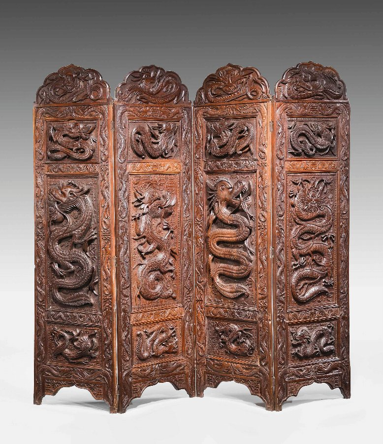 19th Century Carved Eastern Screen