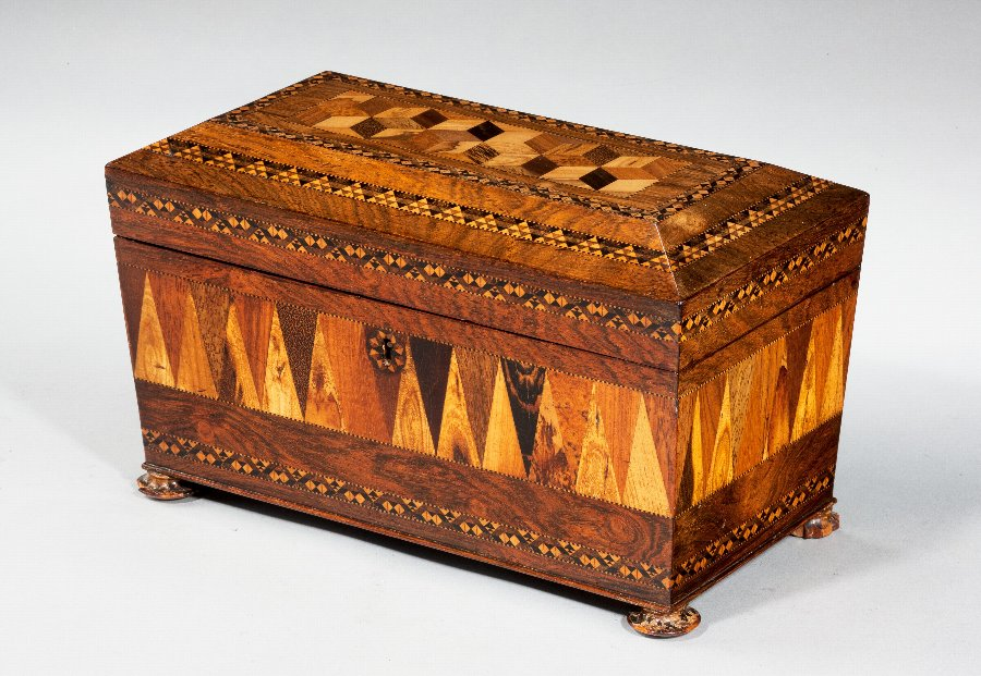 19th Century Tunbridge Ware Tea Caddy