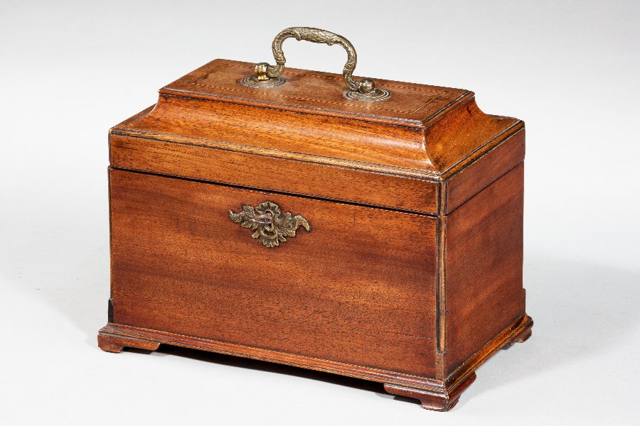 George III Period Mahogany Tea Caddy
