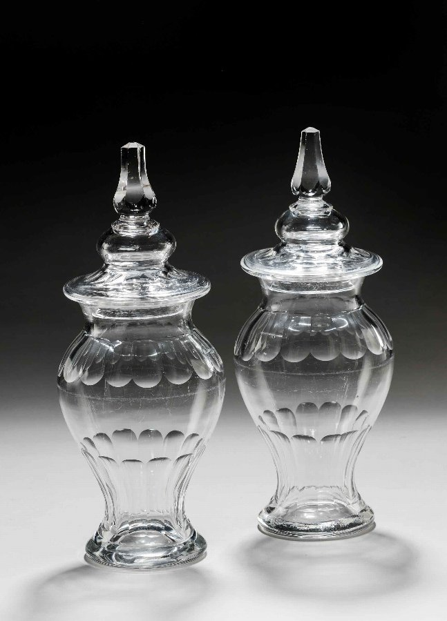 Pair of George III Period Lidded Sweetmeat Jars