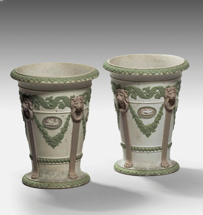 A Rare Pair of Wedgewood Three - Coloured Trumpet Shaped Vases