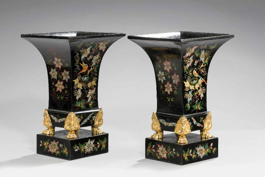 Pair of Mid 19th Century Tole Vases