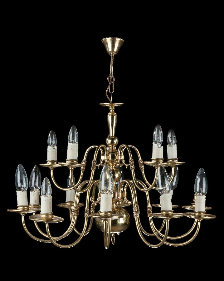 Antique Twelve-Armed,  Brass Chandelier