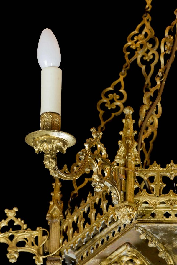 Antique Gilt Bronze Gothic Chandelier