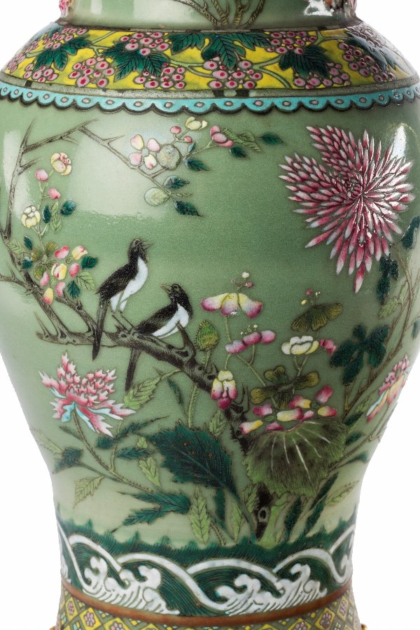 Antique Late 19th Century Green Ground Oriental Porcelain Vase
