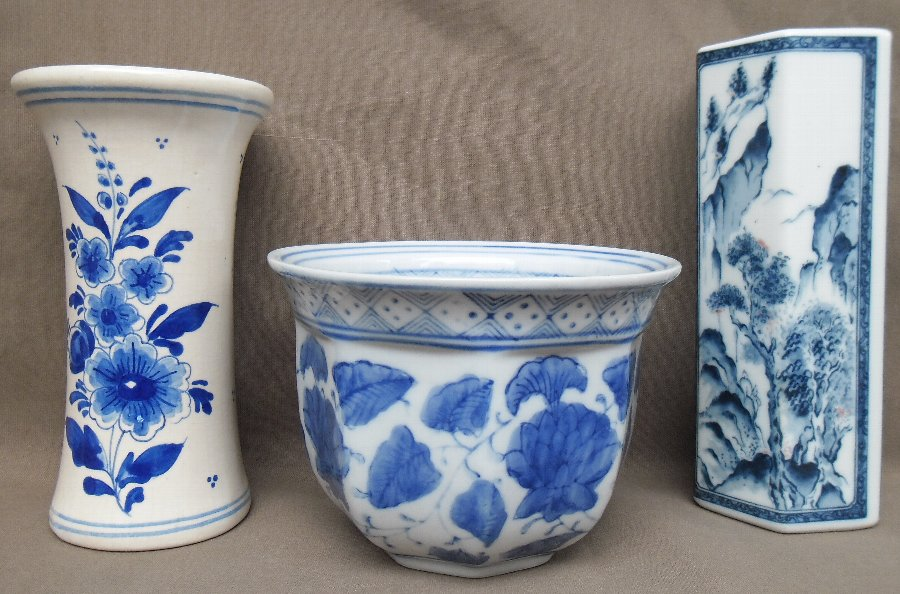 A Chinese antique planter & vases