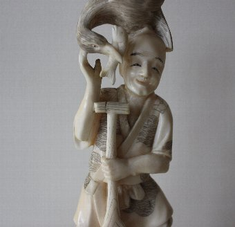 Antique Antique Japanese Okimono - Man with Cormorant