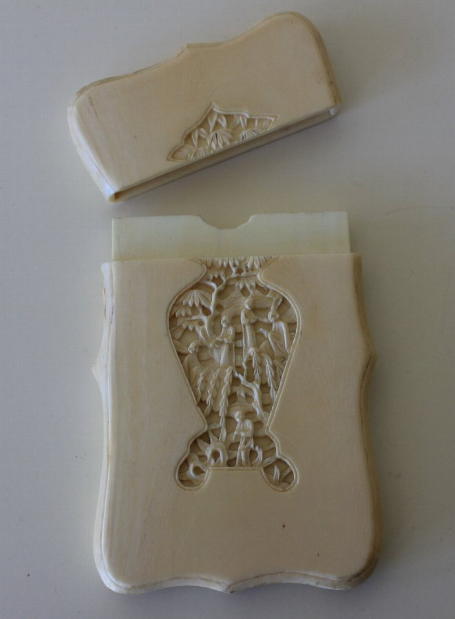 Antique Antique Chinese Carved Ivory Card Case