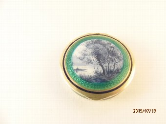 Antique French Silver Gilt Enamelled Compact with Fishing Scene