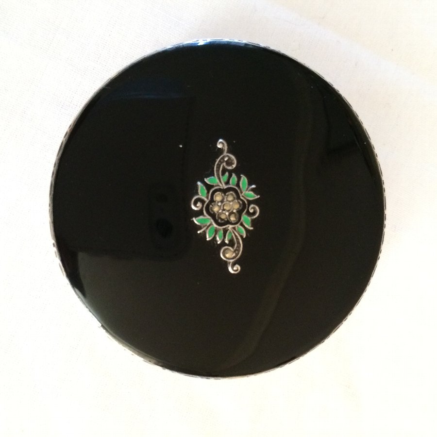 Silver and Black Enamel Compact with Marcasite